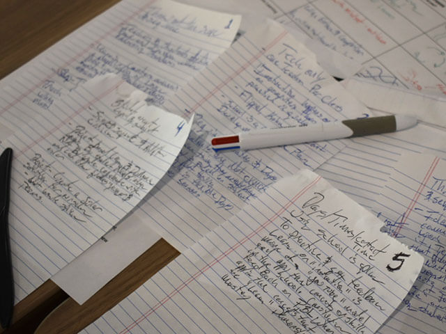 Several pages of hand written notes