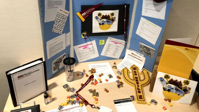 A display of a prototype for a campus scavenger hunt