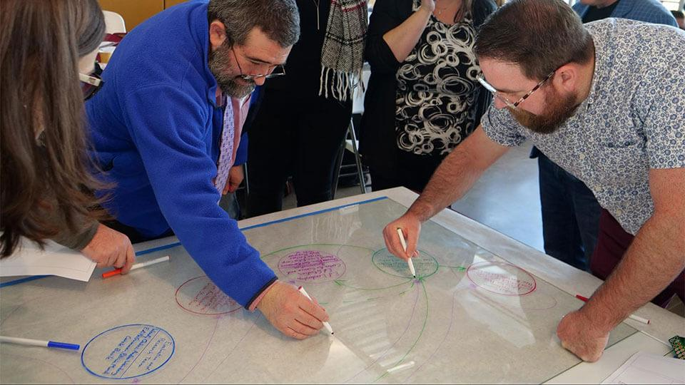 Retreat participants draw lines with dry erase markers
