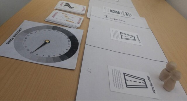 Game components. A spinner and cards