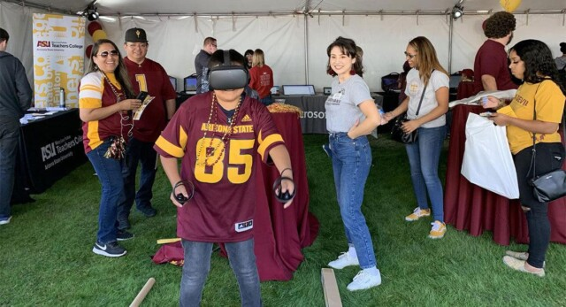 Homecoming fans trying our VR goggles