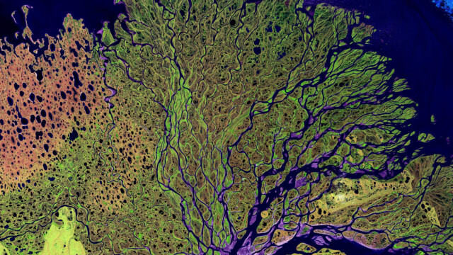 An satellite view of the Lena Delta Reserve in Russia