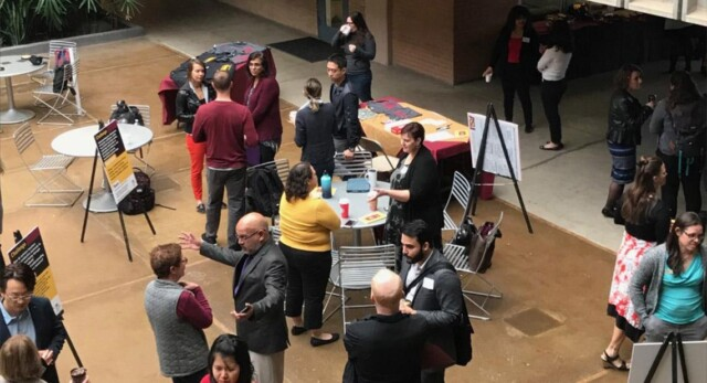 A conference in the Farmer Education Building atrium