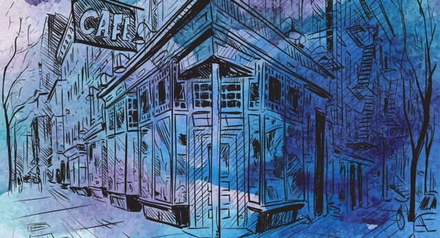 A blue-ish watercolor of a New York street