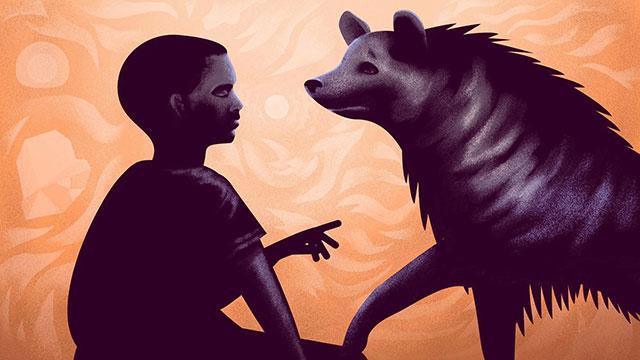 Illustration of a boy talking to a hyena.