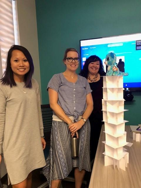 Christina, Clarin and Elizabeth with their tower